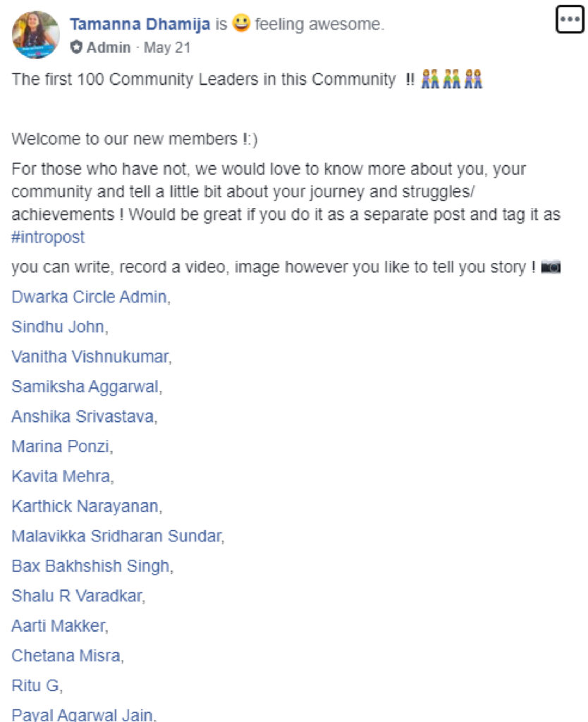 Welcome new members in fb groups
