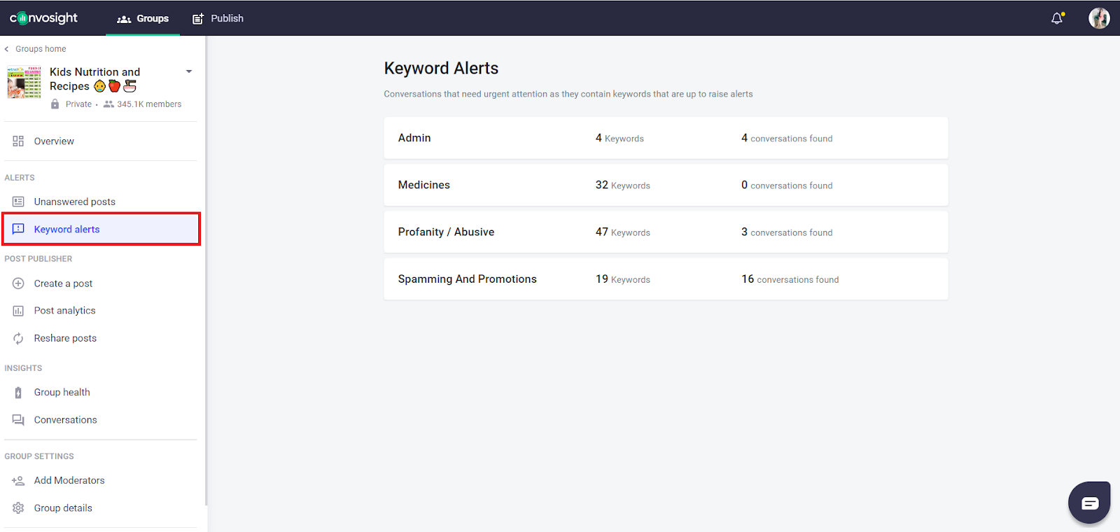 watch keyword Alerts for Facebook group engagement