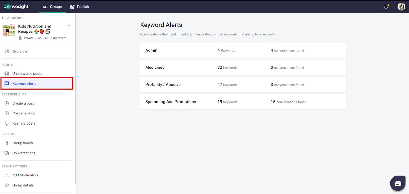 watch keyword Alerts for Facebook group engagement