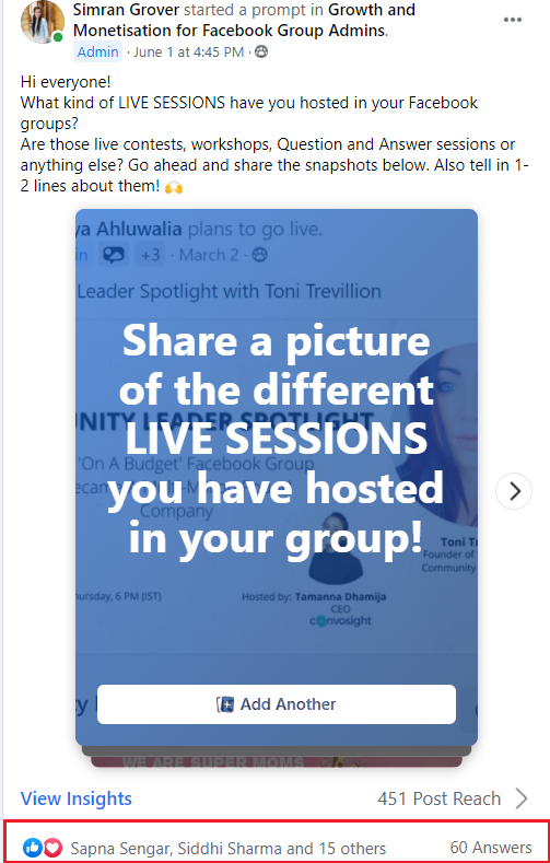 start a prompt for quick facebook group engagement