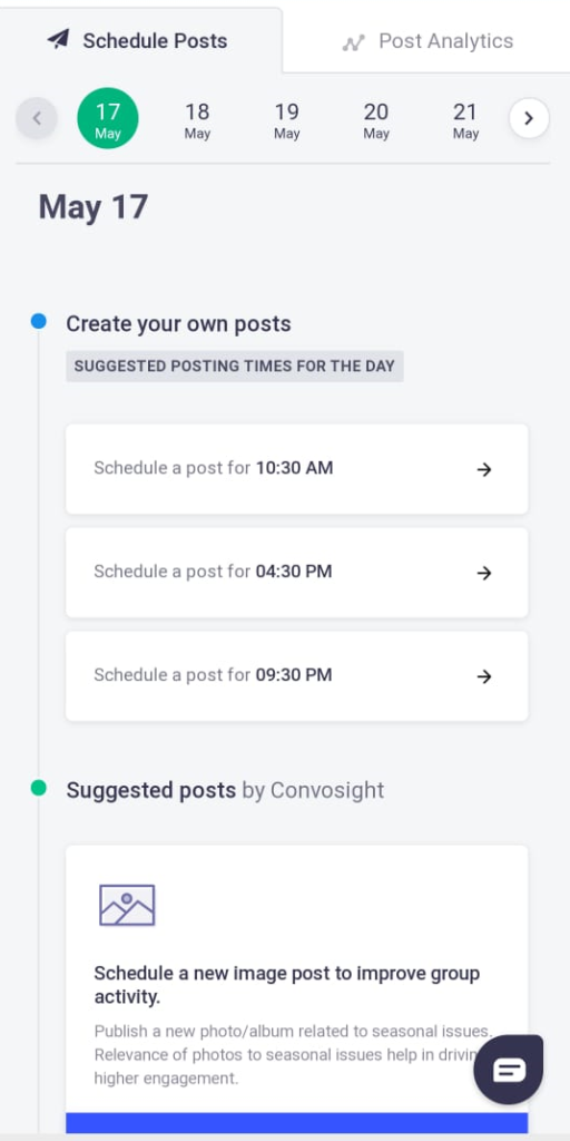 schedule posts by convosight tool