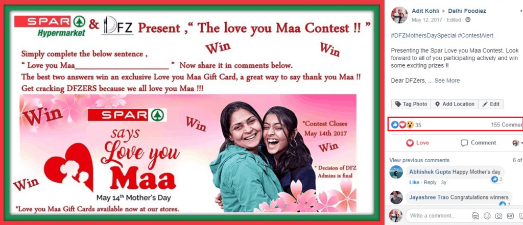Mothers day special sponsored contest