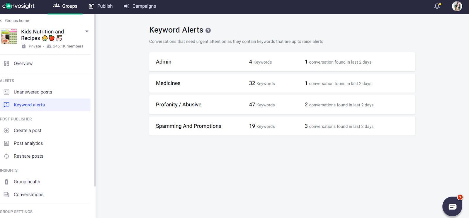 new keyword alerts on Convosight