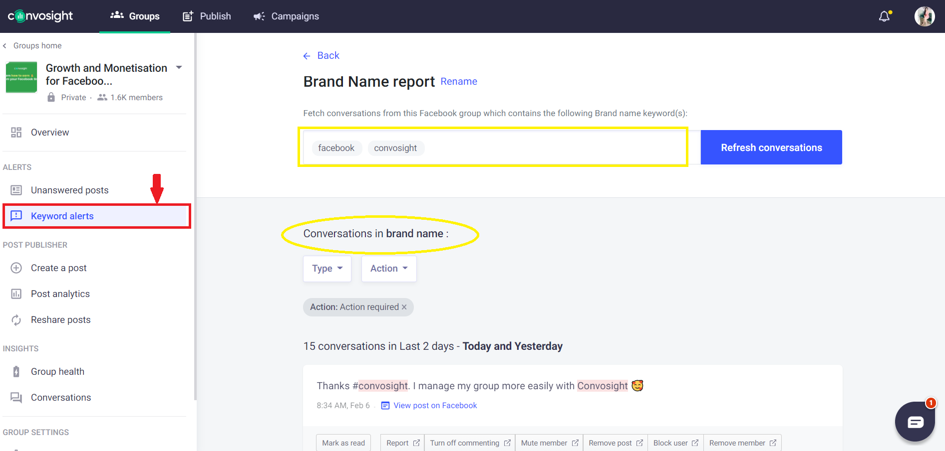 keywords alerts brand report