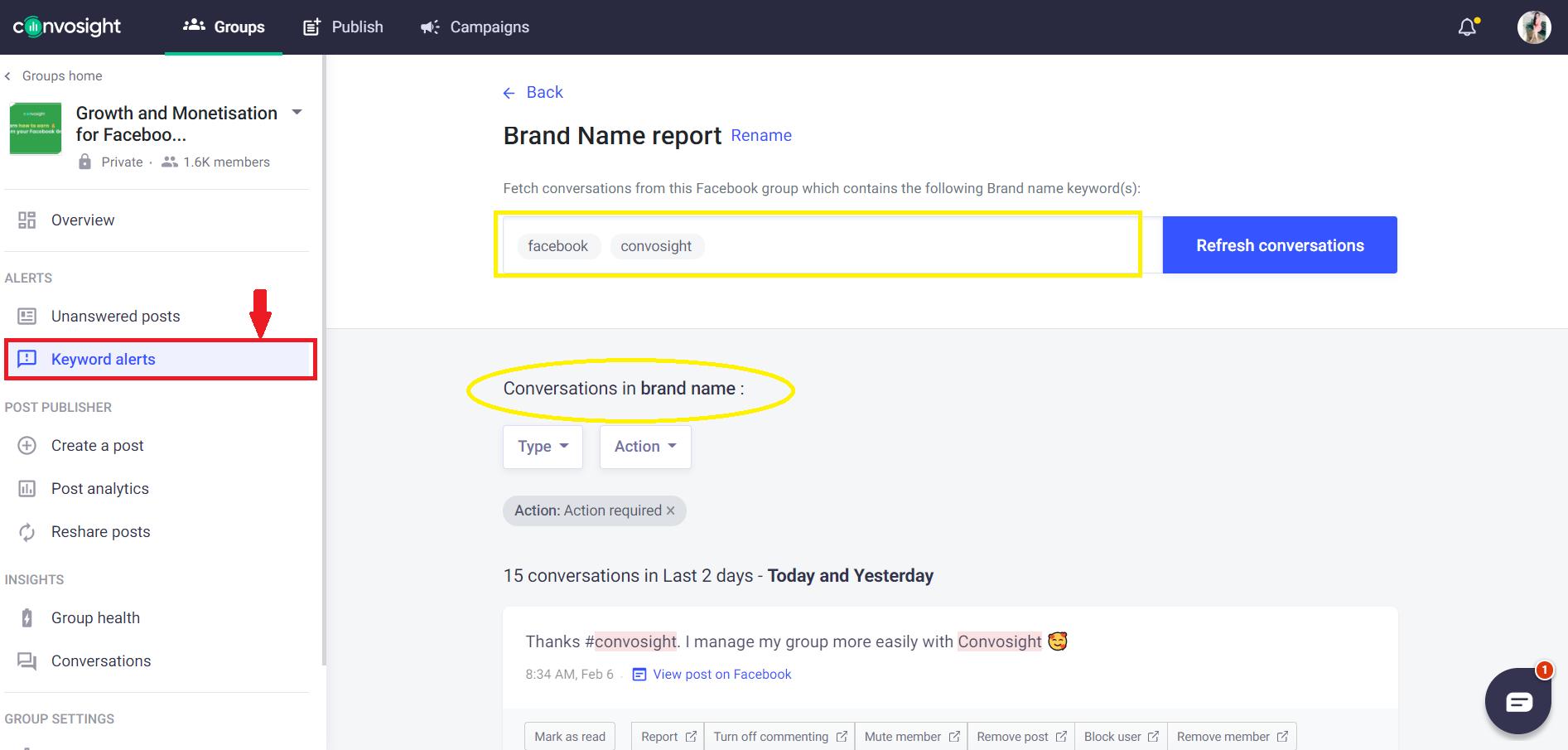 keywords alerts brand report