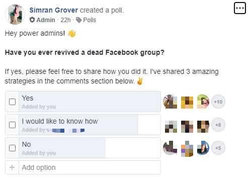 revive a dead group poll