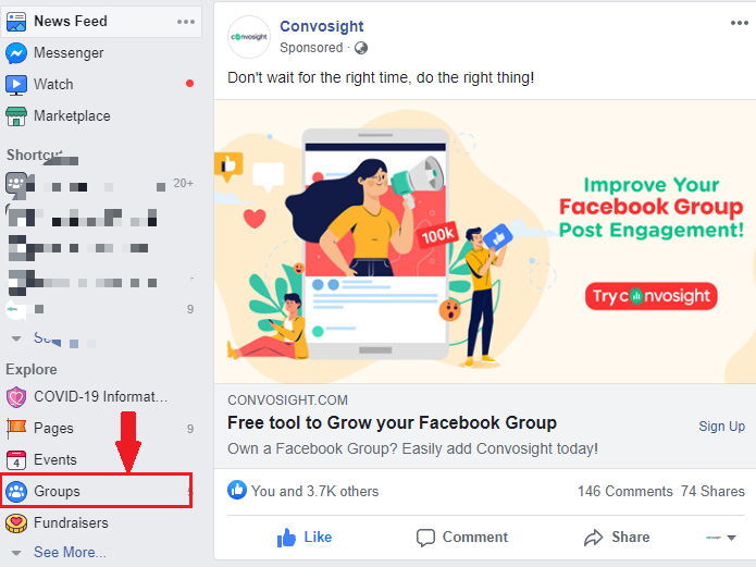 Click on Groups