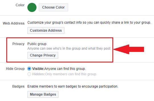edit group setting