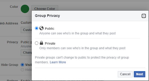 How to change from public to private facebook group