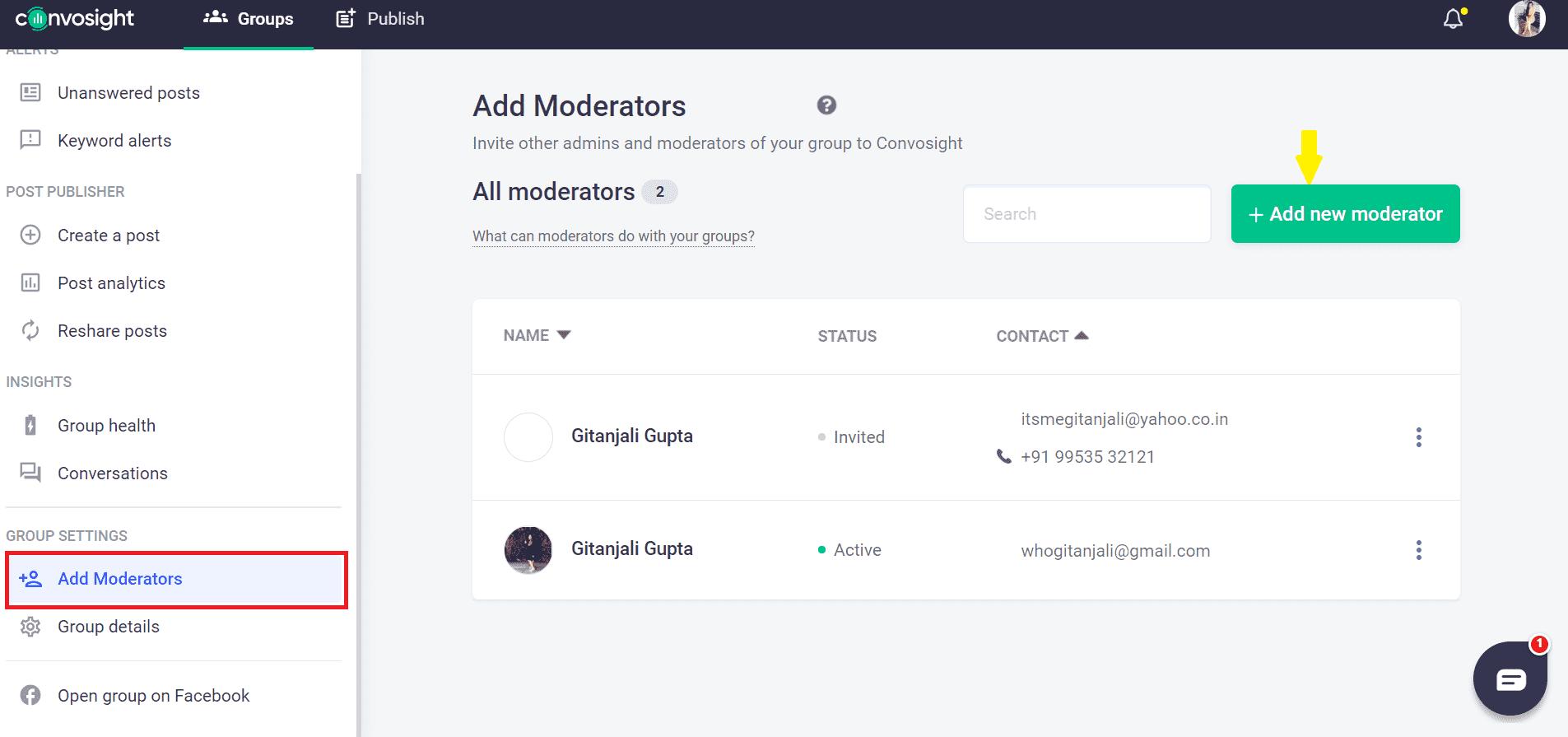 add moderator by Convosight Dashboard