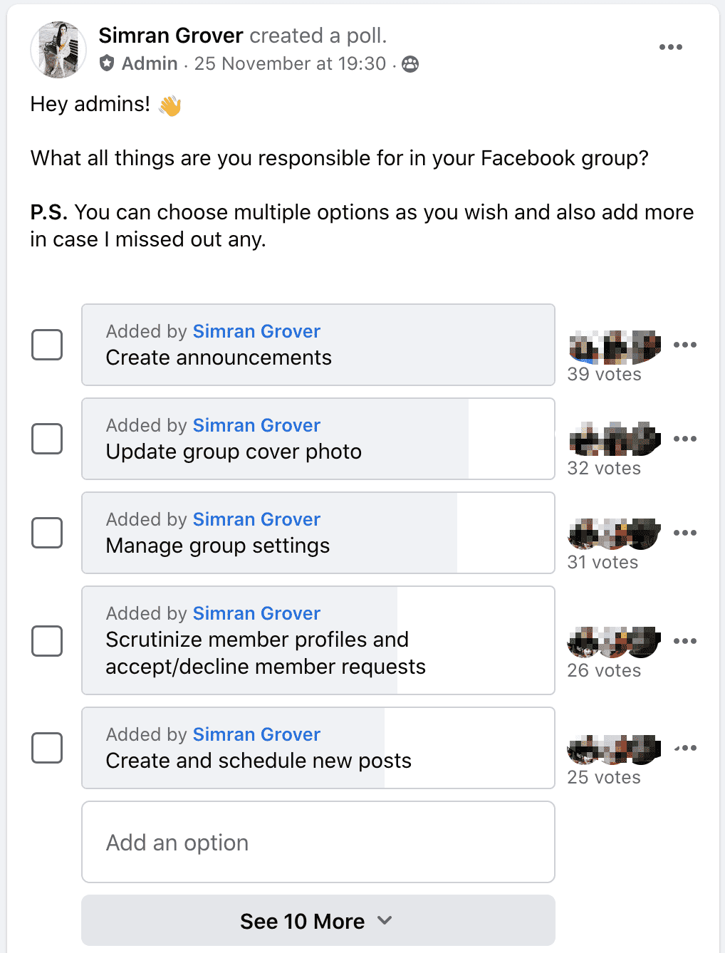 poll about Admin Vs Moderator Roles and Responsibilities
