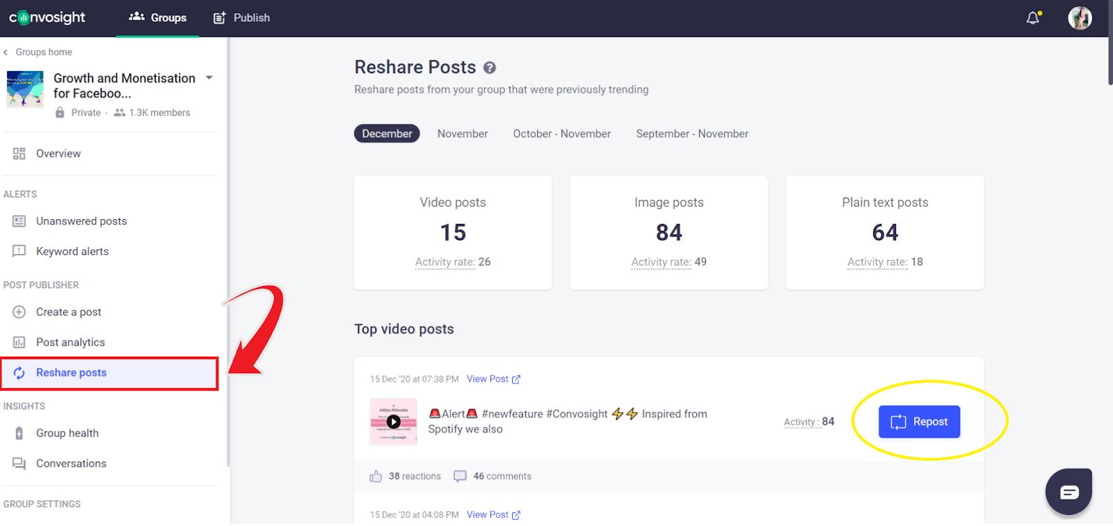 reshare posts new