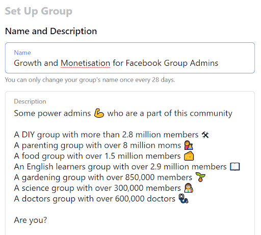 step to change facebook group