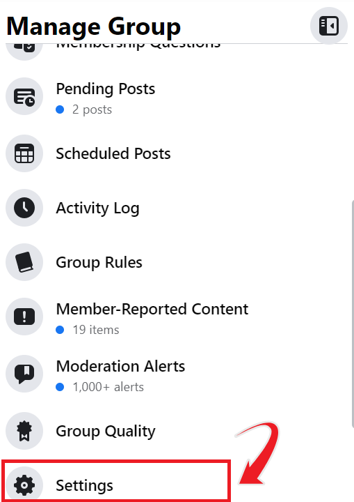 facebook group name setting