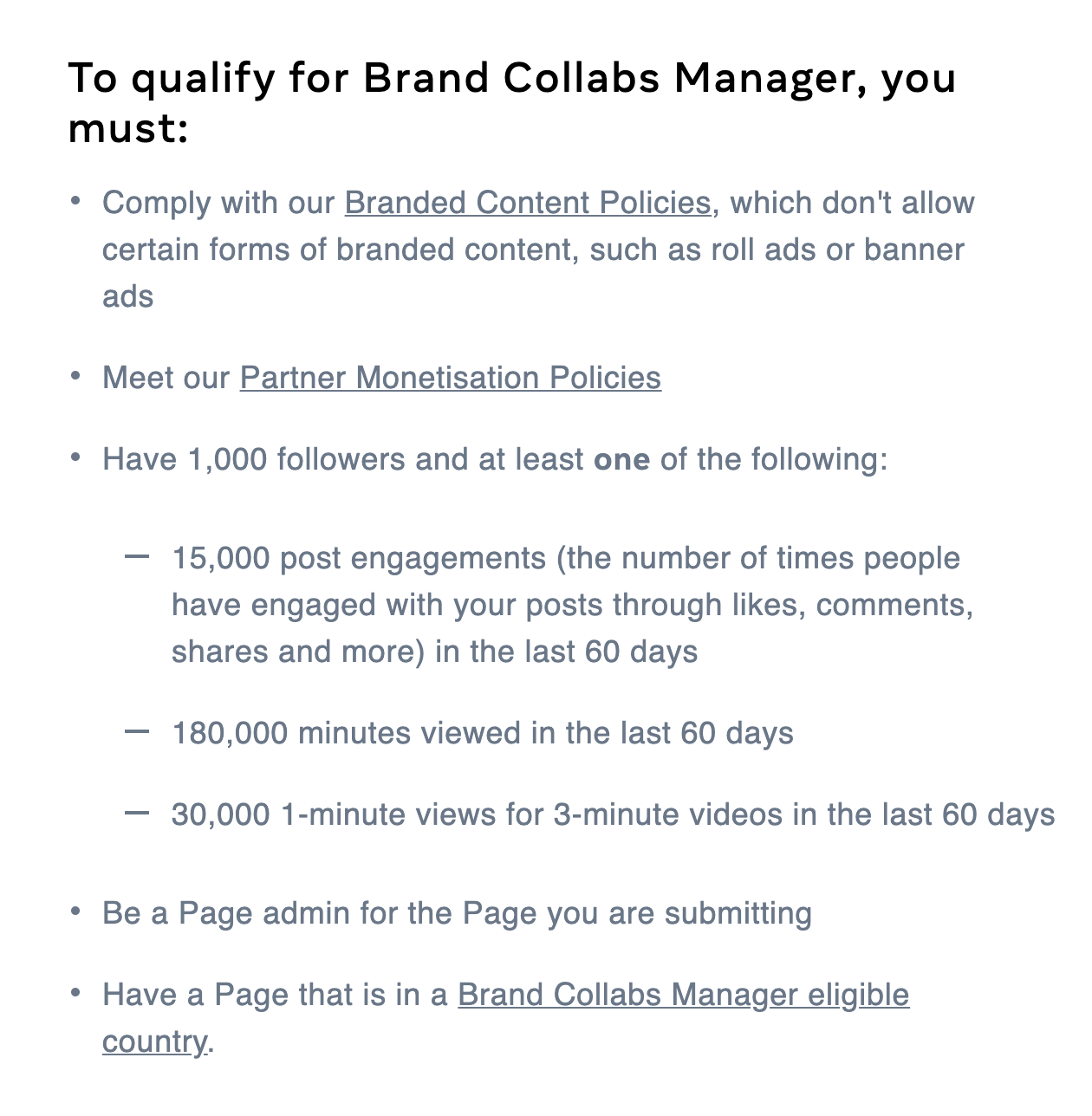 How to Qualify for collab manager to monetize your Facebook group