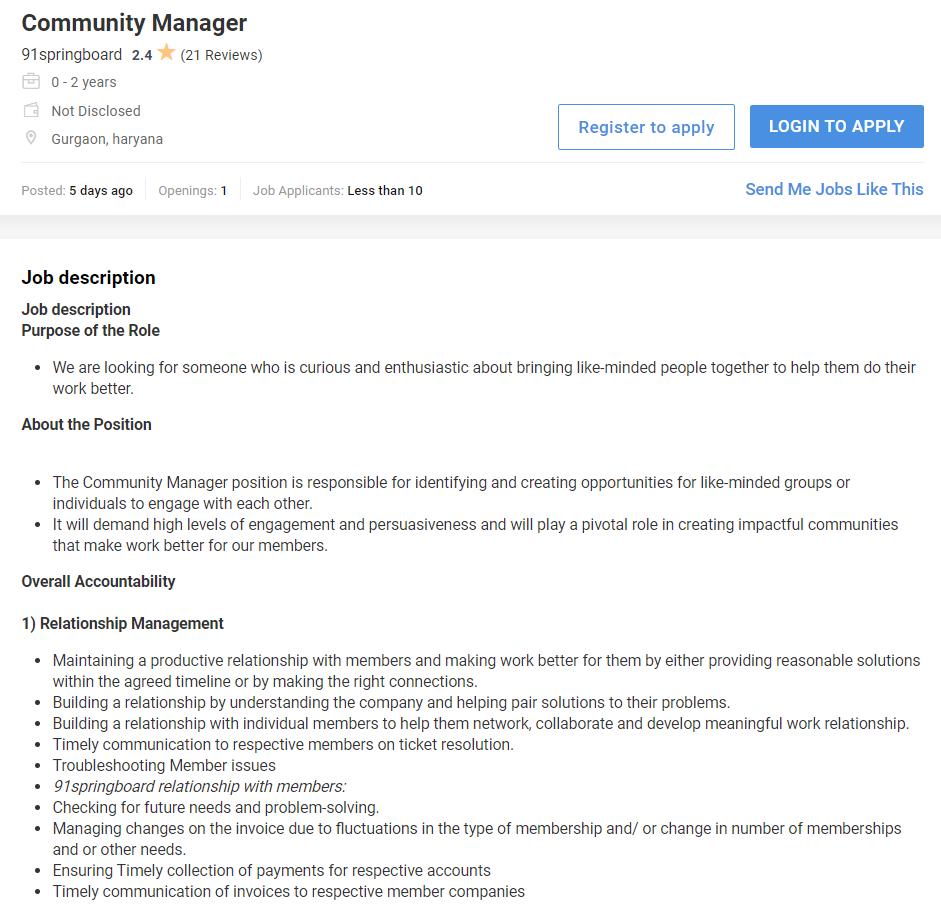 community manager job on Naukri