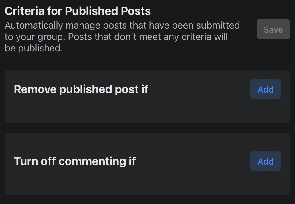 Criteria for Published Posts