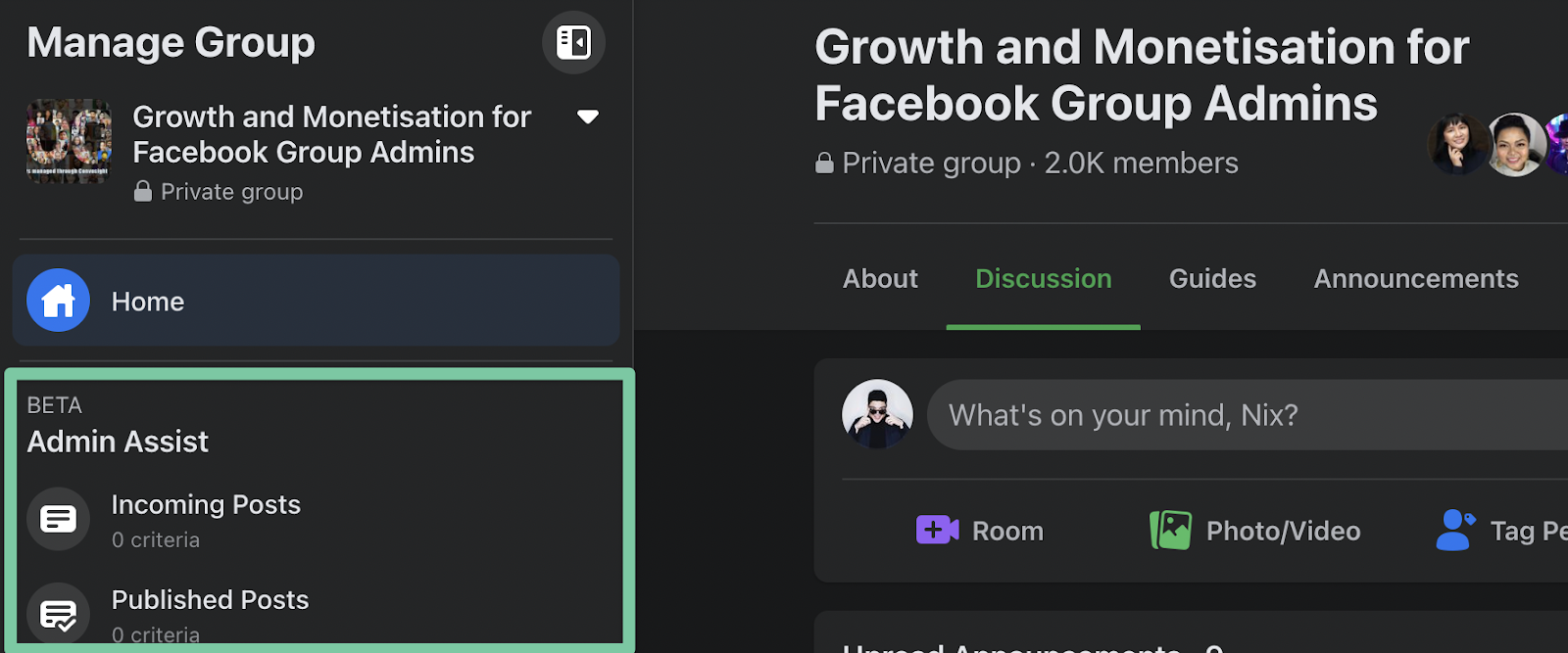 Admin Assist for Facebook Group
