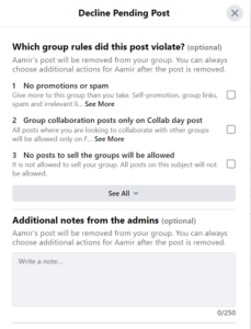 decline post and give feedback, facebook group features