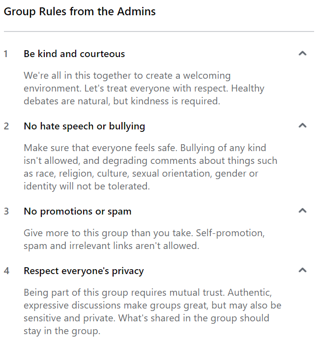 facebook group rules