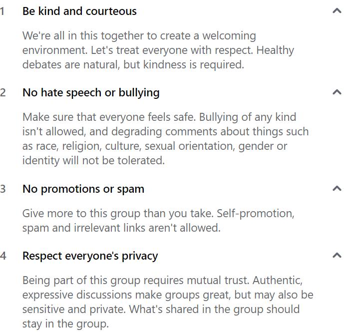 general facebook group rules