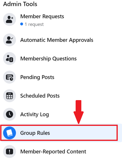 group rules under admin tools