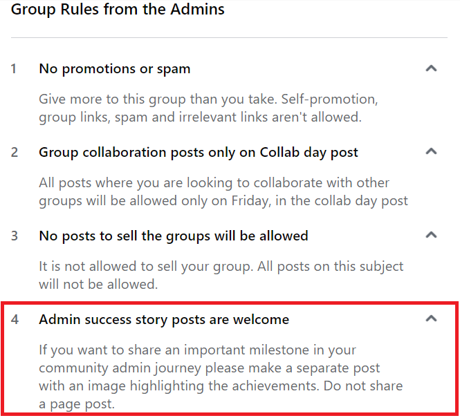 Common Facebook Group Rules