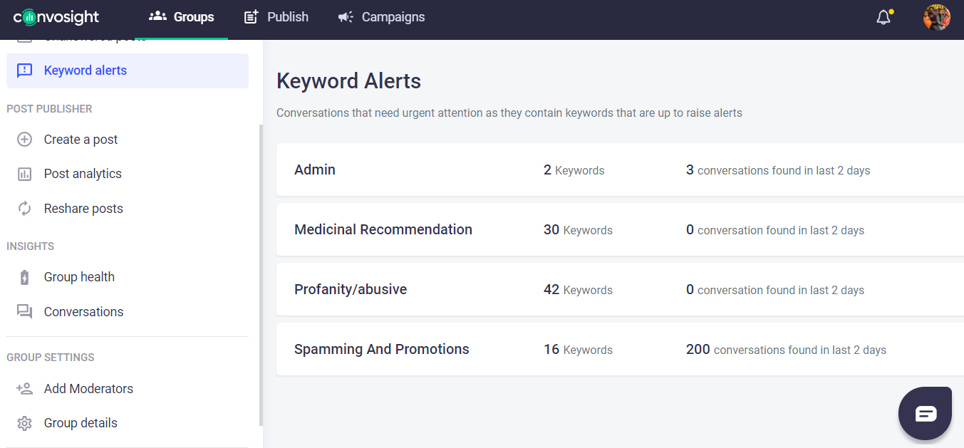 keyword alert