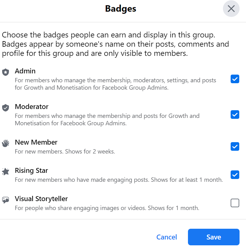 select group badges
