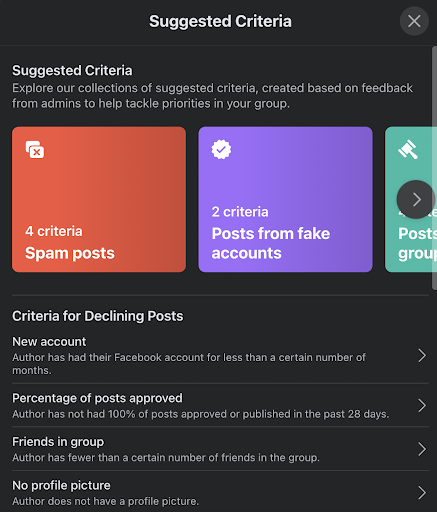 suggested criteria in admin assist