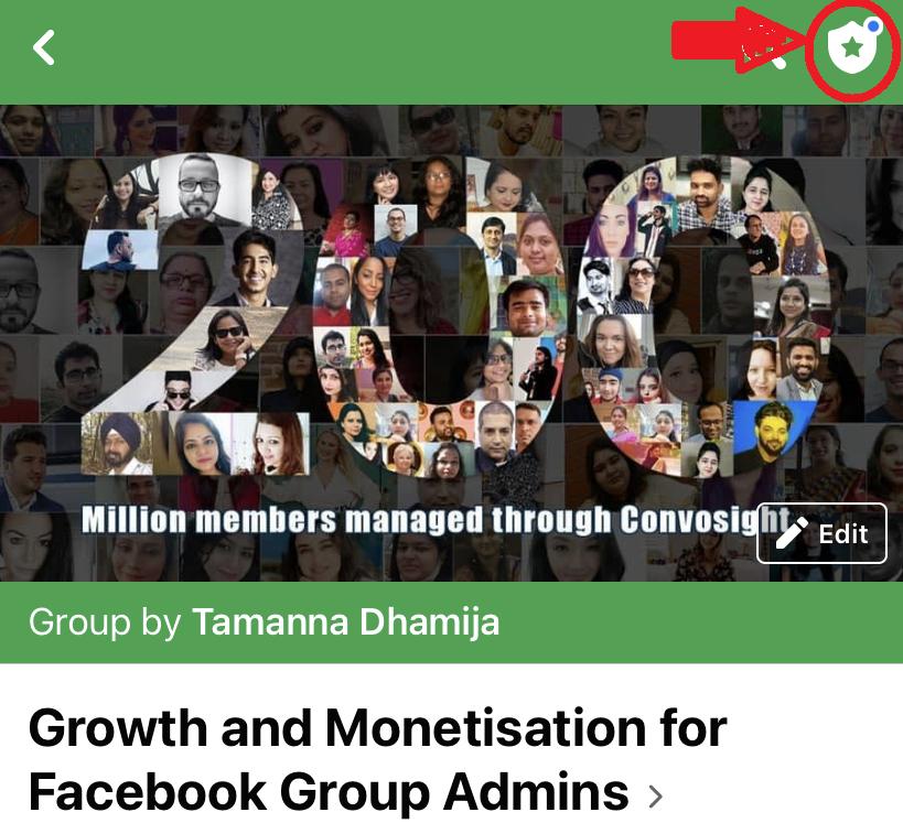Manage Facebook group screenshot