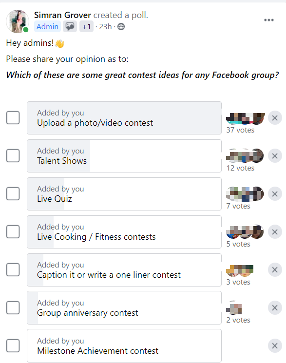 Poll for facebook group contest
