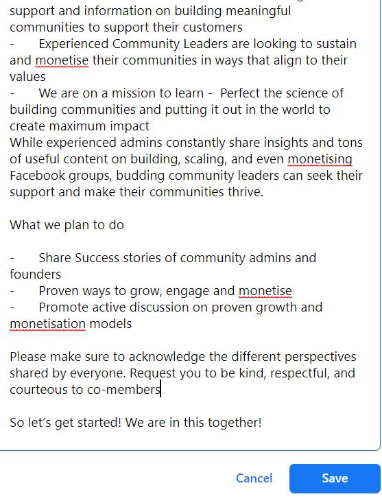 Edit Facebook Group Description