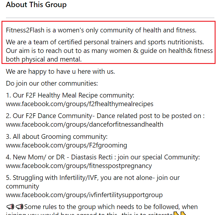 Facebook group description examples