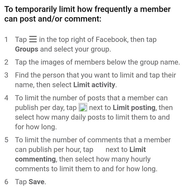 limit activity in new fb feature