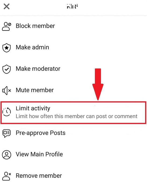 limit activity member wise