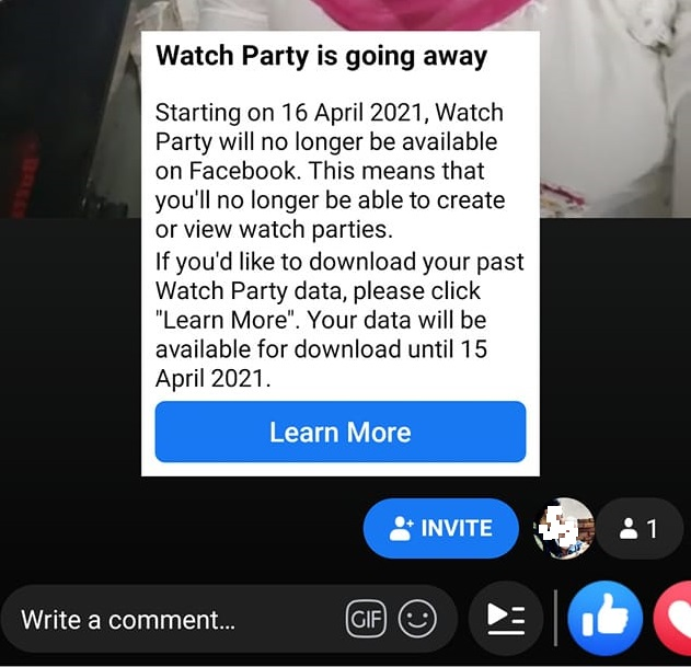 watch party removed in Facebook Group Features April & May 2021