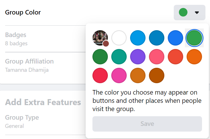 Facebook group color