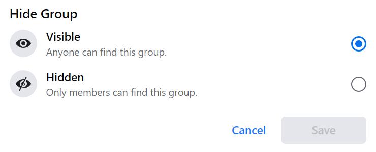 hide group