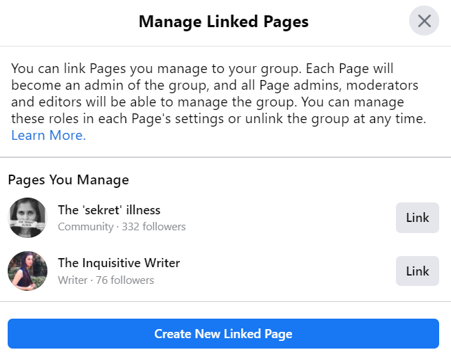 manage linked pages