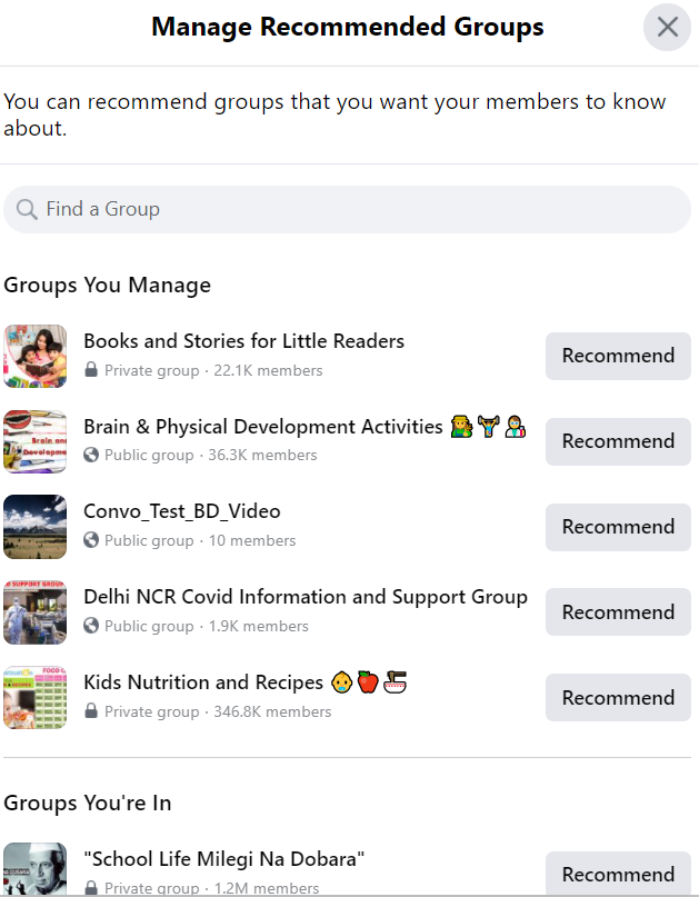 manage recommended groups