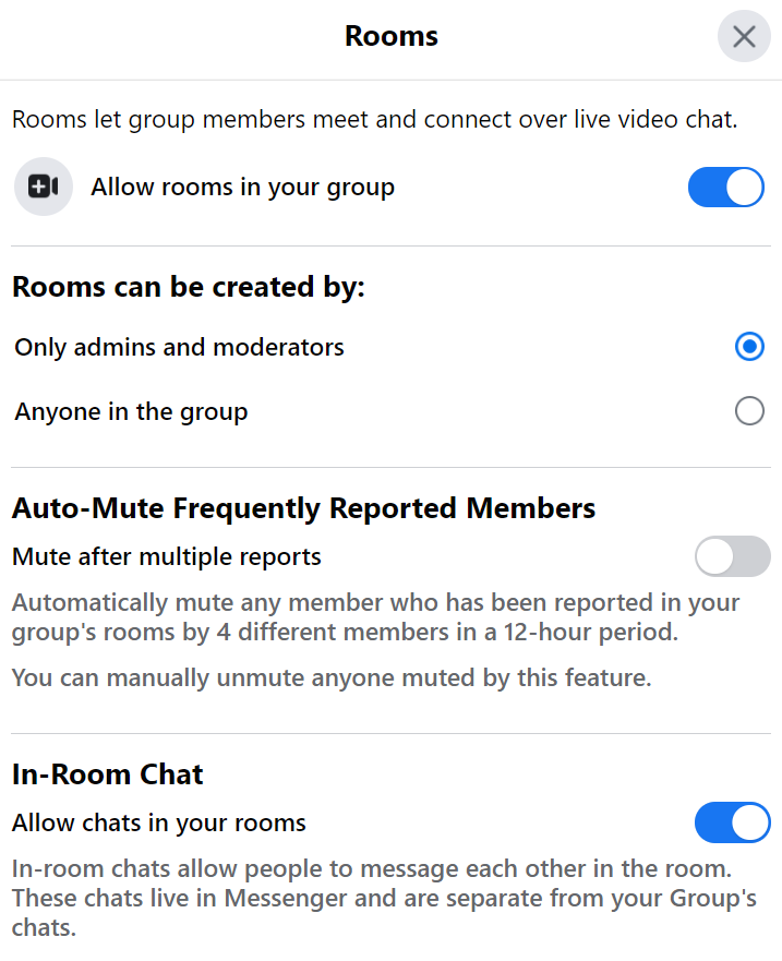 setting or rooms in facebook group