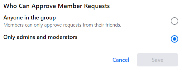 who can approve member requests