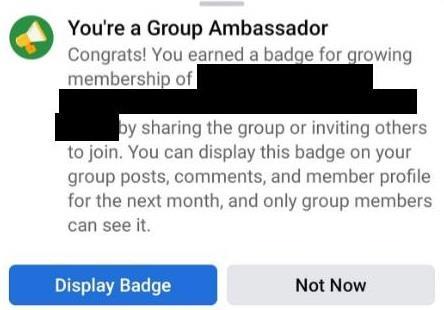 Facebook Group Ambassador badge