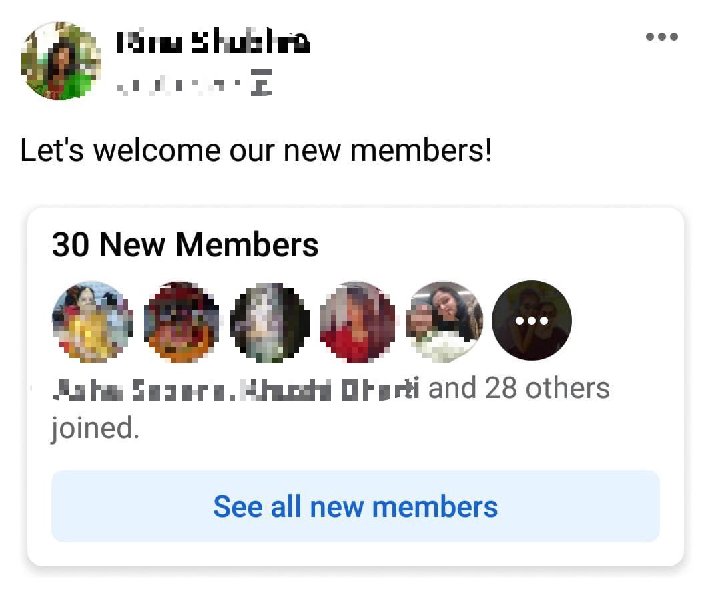 Facebook group updates Aug & Sep